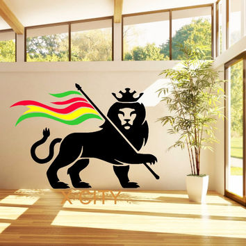 RASTA LION RASTAFARI LION OF JUDAH BOB MARLEY Giant Wall Sticker Vinyl Art Decal Stencil Window Door Room Decoration Mural