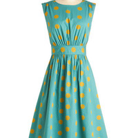 Too Much Fun Dress in Gold Dots - Long