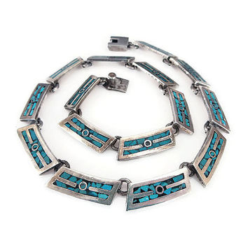 Taxco Mexico Necklace, Sterling Silver, Turquoise, Onyx, Inlay Stone, Mexico 925, Choker Necklace, Vintage Necklace, Vintage Jewelry