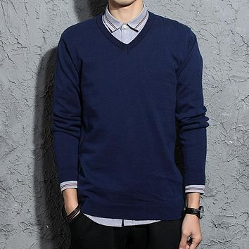 V-Neck Warm Sweater Men Business Casual Autumn Winter Warm Formal Mens Knitted Sweaters 2017 Christmas Pullover Sweater Jumpers