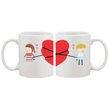 Love Connecting Couple Mugs Cute Graphic Design Coffee Mug Cup 11 oz