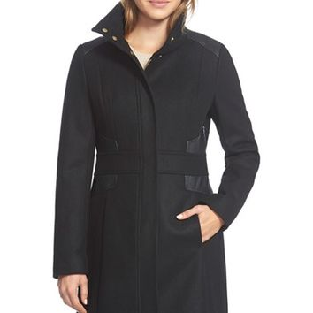 Women's Via Spiga Wool Blend Coat with Faux Leather Trim,