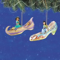 Disney's Once Upon A Slipper Jasmine and Mulan Figurine Shoe Ornaments Set of 2
