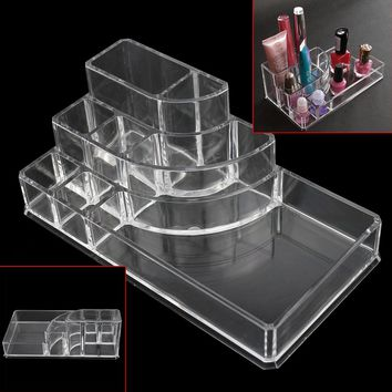 New Acrylic Clear Transparent Makeup Box Cosmetic Organizer Lipstick Make Up Brushes Display Stand Storage Case 17.3*9.3*6.6cm