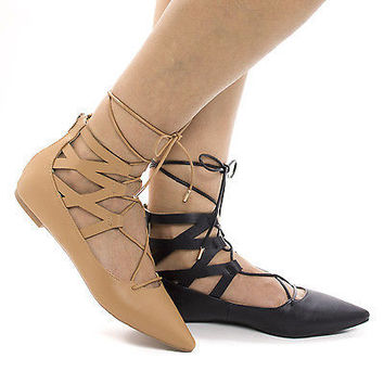 Justify16V Black Pu By Bamboo, Cut Out Ankle Cuff Corset Lace Up Leg Wrap Ballet Flats