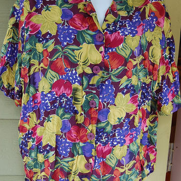 Vintage 80s Esprit Collection Fruit & Floral Print Oversize Boxy Blouse Shirt Top Size Small