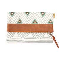 BEADED SAGE TRIANGLE FOLDOVER CLUTCH