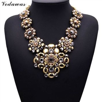 2017 New Design XG081 Long Vintage Statement Necklaces & Pendants Gold Crystal Flower Necklace For Women Gothic Collares Mujer