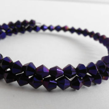 Memory Wire Wrap Beaded Bracelet with Tiny Dark Purple Diamond Beads