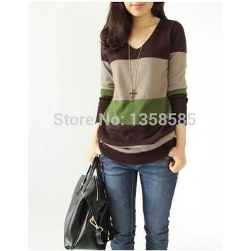 Springtime New style Cashmere Sweater Women Pullover Sweater Female V-Neck Knitted Loose Wool Sweater Sexy