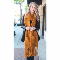 Chunky Two Pocket Scarf Mustard