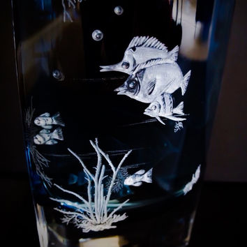 Coral Delight Hand Engraved Fish Vase