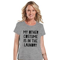 Women's Halloween Shirt - Funny Halloween Costume Laundry Shirt - Happy Halloween Party - Adult Halloween Costumes - Grey Halloween Shirt
