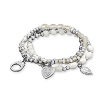 Silver Tone Multicharm Fashion Stretch Bracelets with White Beads
