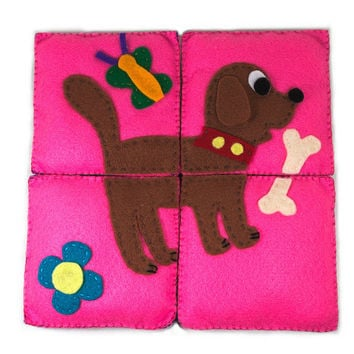 Educational toy - bear and dog simple puzzle for small children made of felt - perfect gift