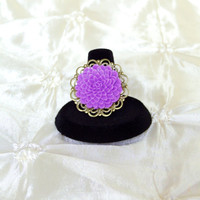 Vintage Style Adjustable Bridesmaid Ring Orchid Purple Mum Antique Brass Filigree for Lupus Awareness