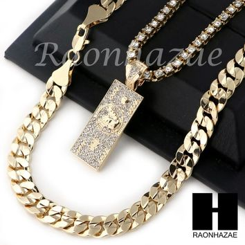 "HIP HOP 100 DOLLAR TENNIS CHAIN DIAMOND CUT 30"" CUBAN LINK CHAIN S057"