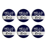 Eric Hello My Name Is Plastic Resin Button Set of 6