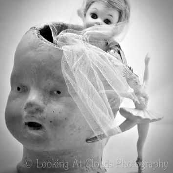 creepy doll - old doll - fine art photo - - weird - cute doll and a ballerina - black and white 8x10 - 'stuck in my head'