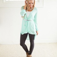Flowy Belted High Low Tunic in Mint