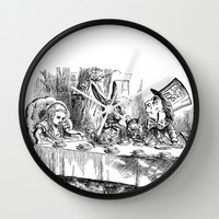 Vintage Alice in Wonderland Mad Hatter & rabbit tea party antique goth emo book gothic drawing print Wall Clock by iGallery