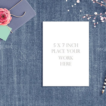 Buy any 2 get 3 - Mock up 5x7 inch  Styled | Mock Up for  invitation card | wedding invitation | card design | for blog, photography mockup
