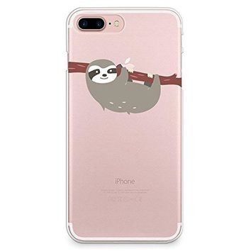 iPhone 8 Plus Case, iPhone 7 Plus Case, CasesByLorraine Cute Sloth Clear Transparent Case Slim Hard Plastic Back Cover for Apple iPhone 7 Plus & iPhone 8 Plus (A66)