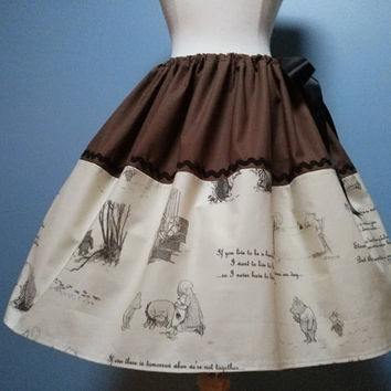 Gorgeous Winnie the Poo Skirt, Full Skirt, Fits ALL Sizes, Adjustable Satin Waist, LOVE!