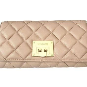 DCCKHI2 Michael Kors Astrid Quilt Leather Carryall Wallet (Ballet Pink/Gold)
