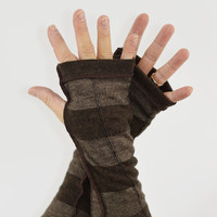 Men's Arm Warmers in Brown and Cappuccino - Upcycled Merino Wool Blend - Fingerless Gloves