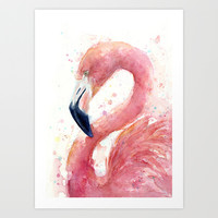 Pink Flamingo Watercolor Art Tropical Bird Art Print by Olechka