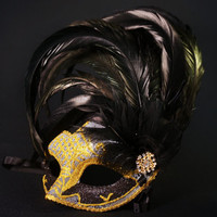 Black and Gold Mask, Venetian Mask, Masquerade Mask, Wedding Mask, Prom Mask,  Party Mask, Venetian Mask with Feathers, Mardi Grass Mask