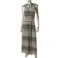 Anne Klein Womens Chiffon Striped Maxi Dress