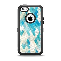 The Grunge Blue and Yellow Diamonds Panel Apple iPhone 5c Otterbox Defender Case Skin Set