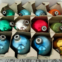 Box Of Mercury Christmas Ornaments Earlier Vintage Set Of 12 Shiny Bright Decorative Bulbs Collectible Gift Item 2358