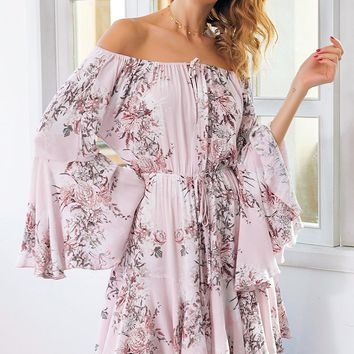 Pink Floral Off Shoulder Flared Sleeve Flowy Romper