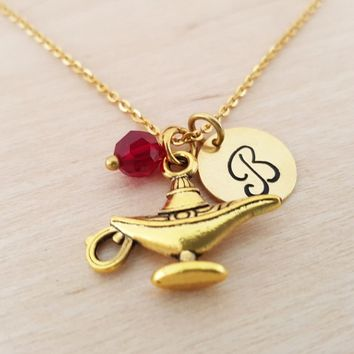 Genie Lamp Necklace - Gold Initial Necklace - Birthstone Necklace - Gold Initial Necklace - Personalized Necklace - Gift for Her