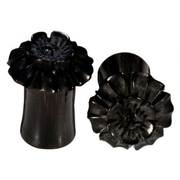 Bloom Flower Hand Carved Horn Plugs - 7/16 Inches (11mm)
