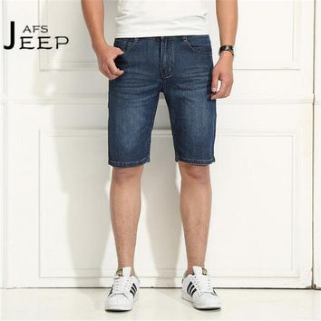 AFS JEEP man's Brand Style Cotton Made Mid Waist Denim Shorts,plaid Style Back Pockets Casual Straight Knee Length Jeans males