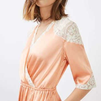 Satin Lace Wrap Midi Dress - THE PRETTY GIRL - We Love