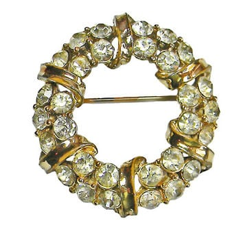 Coro Wreath Brooch Clear Rhinestones Gold Tone Ribbons 1953 Patent Katz