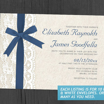 Royal Blue Bow & Lace Wedding Invitations | Invites | Invitation Cards