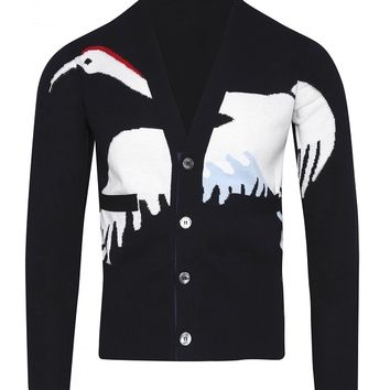 Indie Designs Thom Browne Inspired Navy Crane Intarsia Cotton Cardigan
