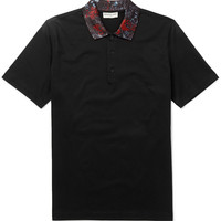Balenciaga - Printed-Collar Pima Cotton Polo Shirt | MR PORTER