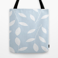 White Leaves On Blue Tote Bag by ALLY COXON | Society6