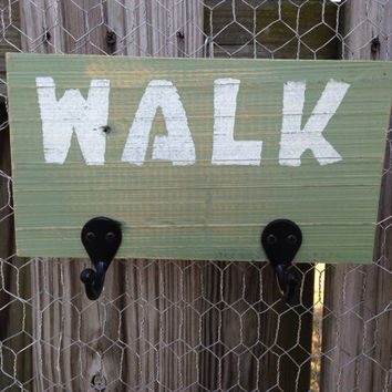 "Rustic Dog Leash Hanger ""Walk"" Dog Sign Dog Leash Holder Dog Leash Hook Reclaimed Wood Sign (Sage Green) Dog Decor Dog Lover Gift Entryway"
