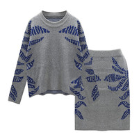 Blue Leaf Print Knitted Sweatshirt and Skirt