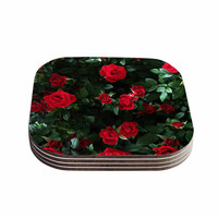 "Chelsea Victoria ""Juliets Garden "" Red Floral Coasters (Set of 4)"