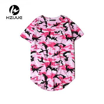 2017 Summer Extended Curved Hem T Shirt Men Camouflage Longline Hip Hop T-shirt Elongated Tee Shirts Justin Bieber Kanye West