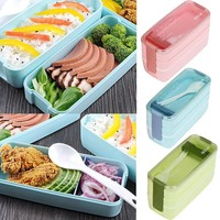 900ml Portable 3 Layer Simple separation of health Bento Oven Lunch Box Microwave Food Storage With lunch box